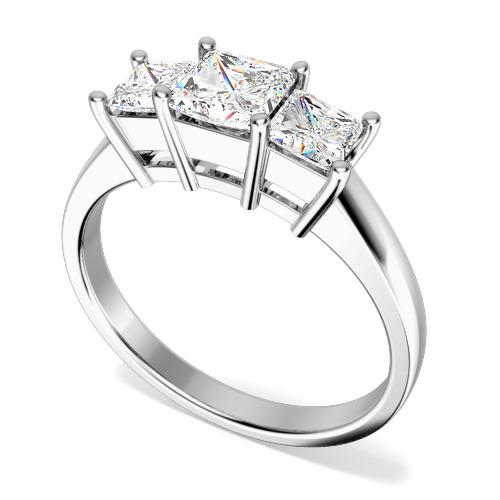 Inel de logodna/Inel cu 3 Diamante Dama Aur Alb 18kt cu 3 Diamante Princess-img1