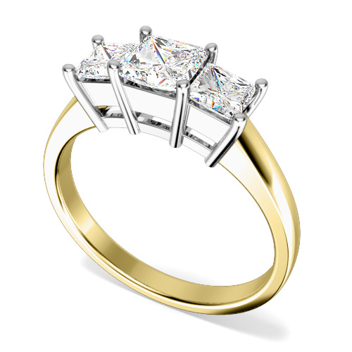 Inel de logodna/Inel cu 3 Diamante Dama Aur Galben si Aur Alb 18kt cu 3 Diamante Princess-img1