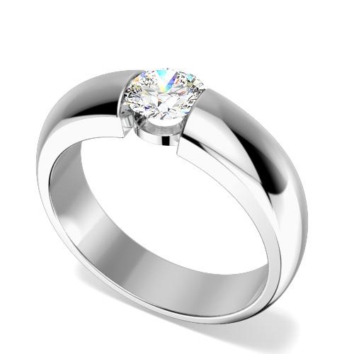 Inel de Logodna Solitaire Dama Aur Alb 18kt cu Diamant Rotund Briliant in Setare Tensionata-img1