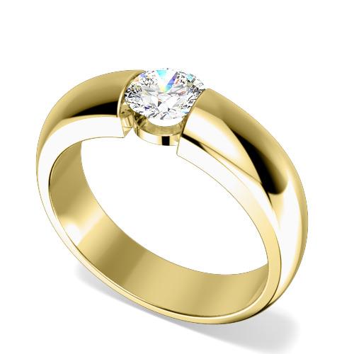Inel de Logodna Solitaire Dama Aur Galben 18kt cu Diamant Rotund Briliant in Setare Tensionata-img1