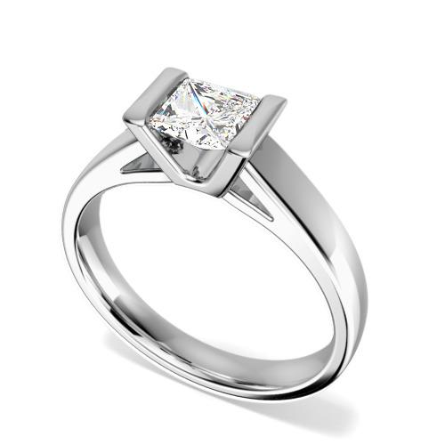 Inel de Logodna Solitaire Dama Aur Alb 18kt cu un Diamant Princess in Setare Tip Bara-img1