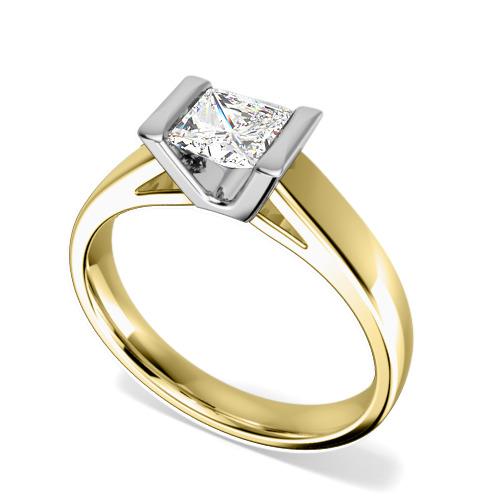 Inel de Logodna Solitaire Dama Aur Galben & Aur Alb 18kt cu un Diamant Princess in Setare Tip Bara-img1