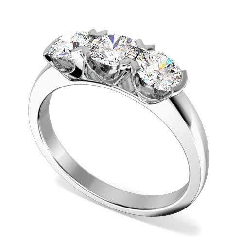 Inel de logodna/Inel cu 3 Diamante Dama Aur Alb 18kt cu 3 Diamante Rotund Briliant in Setare Gheare-img1