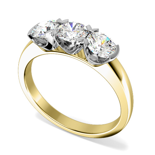 Inel de logodna/Inel cu 3 Diamante Dama Aur Galben si Aur Alb 18kt cu 3 Diamante Rotund Briliant in Setare Gheare-img1