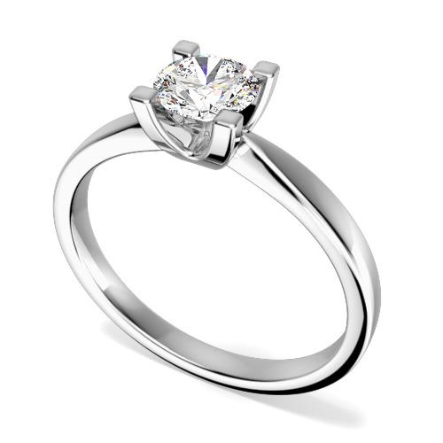Inel de Logodna Solitaire Dama Aur Alb 18kt cu Diamant Rotund Briliant in Setare cu 4 Gheare, Setarea Lasa Diamantul la Vedere-img1