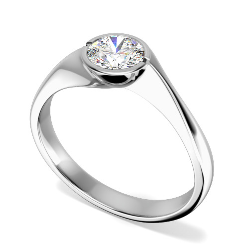 Inel de Logodna Solitaire Dama Platina cu Diamant Rotund Briliant in Setare Rub Over-img1