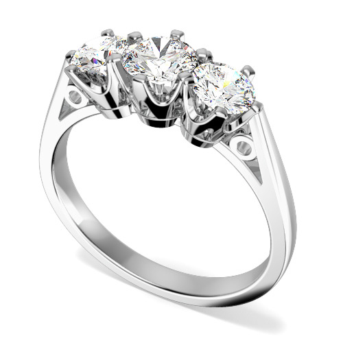 Inel cu 3 Diamante Dama Aur Alb 18kt cu Diamante Rotunde in Setare 6-Gheare-img1