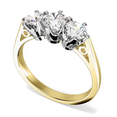 Inel cu 3 Diamante Dama Aur Galben si Aur Alb 18kt cu Diamante Rotunde in Setare 6-Gheare-img1
