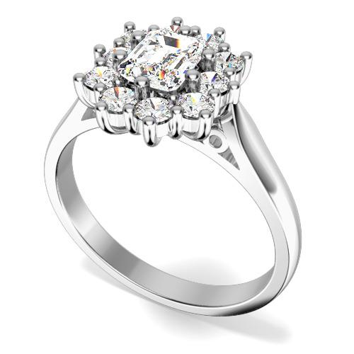 Inel de logodna cu Diamante Dama Aur Alb 18kt cu Diamant Central Forma Smarald si Diamante Rotunde de Jur Imprejur-img1