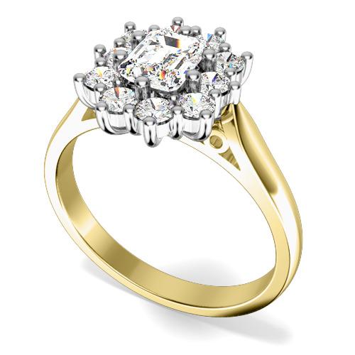 Inel de logodna cu Diamante Dama Aur Galben si Aur Alb 18kt cu Diamant Central Forma Smarald si Diamante Rotunde de Jur Imprejur-img1