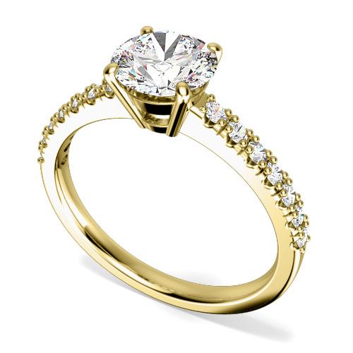 Inel de Logodna Solitaire cu Diamante Mici pe Lateral Dama Aur Galben 18kt cu Diamant Central Rotund Briliant si Diamante Rotunde pe Lateral-img1