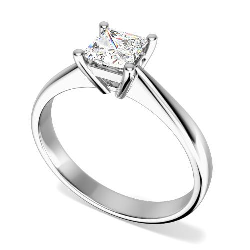 Inel de Logodna Solitaire Dama Aur Alb 18kt cu un Diamant Forma Princess in Setare 4-Gheare-img1