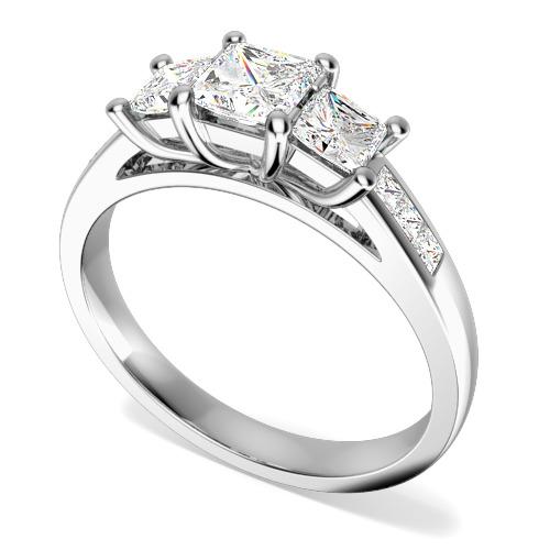 Inel de Logodna cu 3 Diamante Dama Aur Alb 18kt cu 3 Diamante Princess & Diamante pe Margini-img1