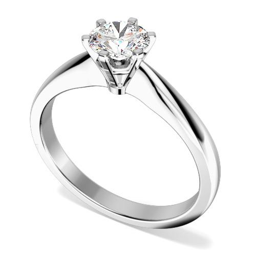 Inel de Logodna Solitaire Dama Platinum 950 cu un Diamant Rotund Briliant in Setare cu 6 Gheare-img1