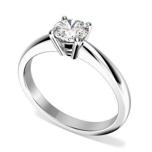 Inel de Logodna Solitaire Dama Aur Alb 18kt cu un Diamant Rotund Briliant in Setare cu 4 Gheare in Stoc-img1