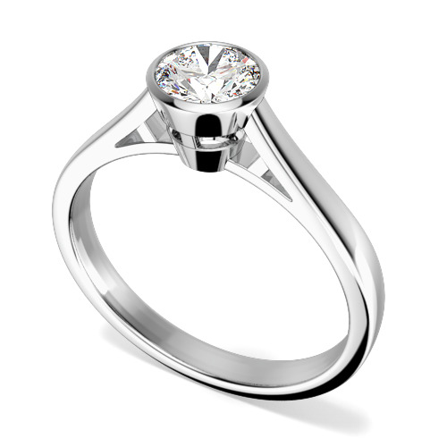 Inel de Logodna Solitaire Dama Aur Alb 18kt cu un Diamant Rotund Briliant incercuit de Metal in Setare Rub-Over-img1