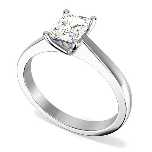 Inel de Logodna Solitaire Dama Platina cu un Diamant Forma Smarald in Setare Gheare-img1