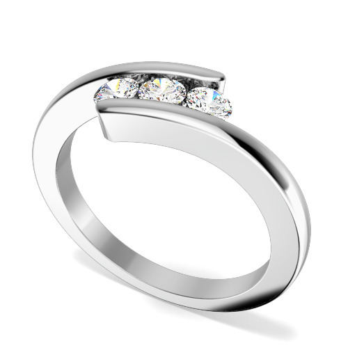 Inel de Logodna cu 3 Diamante Dama Aur Alb 18kt cu 3 Diamante Rotund Briliant, Inel Twist-img1