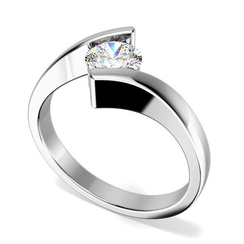Inel de Logodna Solitaire Dama Aur Alb 18kt cu un Diamant Rotund Briliant in Setare Tensionata, Inel Twist-img1