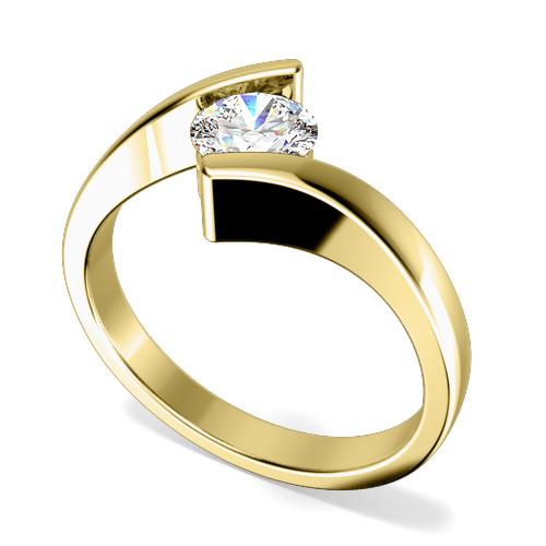 Inel de Logodna Solitaire Dama Aur Galben 18kt cu un Diamant Rotund Briliant in Setare Tensionata, Inel Twist-img1