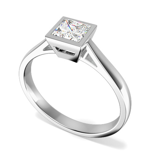Inel de Logodna Solitaire Dama Platina cu un Diamant Princess in Setare Rub Over-img1