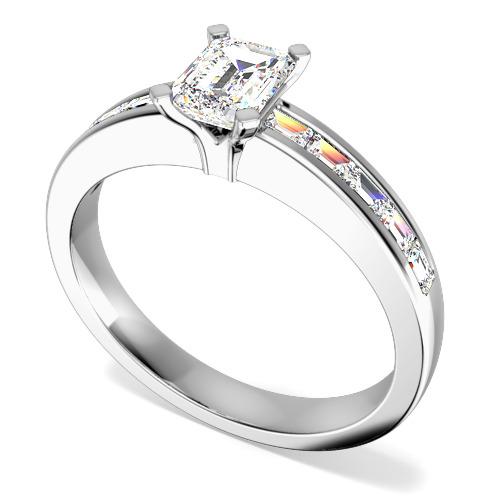 Inel de Logodna Solitaire cu Diamante Mici pe Lateral Dama Aur Alb 18kt cu un Diamant Taietura Smarald si Diamante Bagheta pe Margini-img1