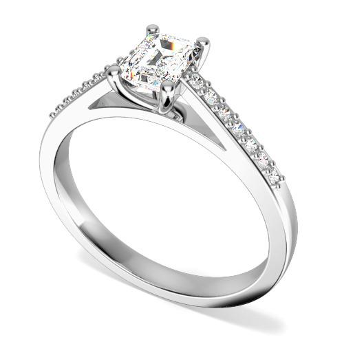 Inel de Logodna Solitaire cu Diamante Mici pe Lateral Dama Aur Alb 18kt cu Diamant Central Forma Smarald si Diamante Rotunde pe Lateral-img1