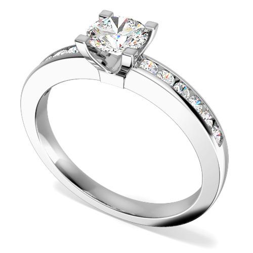 Inel de Logodna Solitaire cu Diamante Mici pe Lateral Dama Aur Alb 18kt cu un Diamant Central Rotund si 12 Diamante Rotunde Mici-img1