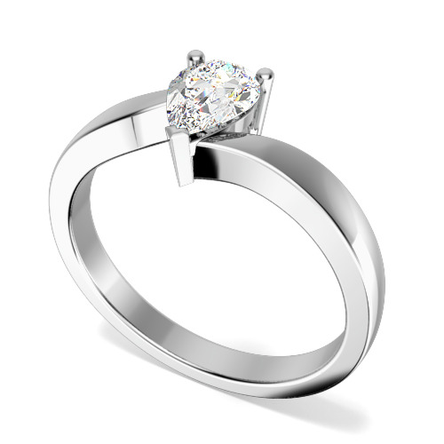 Inel de Logodna Solitaire Dama Aur Alb 18kt cu un Diamant Forma Para in Setare Gheare, Inel Twist-img1