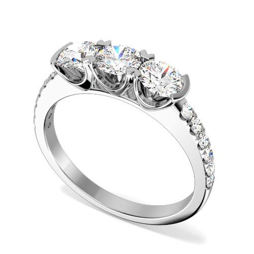 Inel de logodna/Inel cu 3 Diamante Dama Aur Alb 18kt cu 3 Diamante Rotund Briliant si Diamante pe Lateral-img1