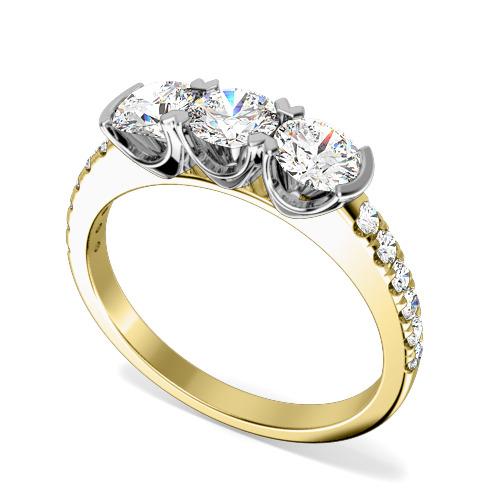 Inel de logodna/Inel cu 3 Diamante Dama Aur Galben si Aur Alb 18kt cu 3 Diamante Rotund Briliant si Diamante pe Lateral-img1