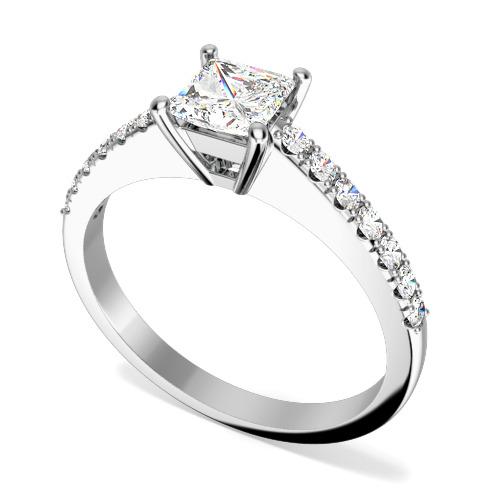 Inel de Logodna Solitaire cu Diamante Mici pe Lateral Dama Platina cu un Diamant Central Princess si 7 Diamante Rotund Briliant pe Fiecare Parte-img1