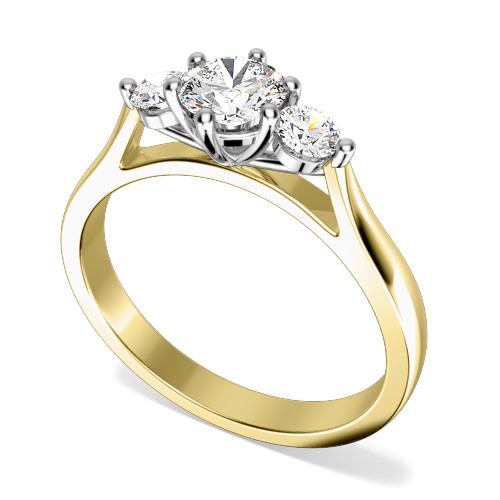 Inel de Logodna Solitaire cu Diamante Mici pe Lateral Dama Aur Galben si Aur Alb 18kt cu 3 Diamante Rotund Briliant in Setare Gheare-img1