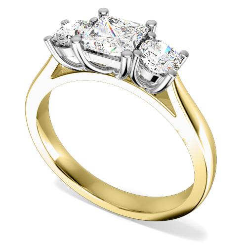 Inel de Logodna cu 3 Diamante Dama Aur Galben si Aur Alb 18kt cu un Diamant Princess si 2 Diamante Rotund Briliant pe fiecare Parte-img1