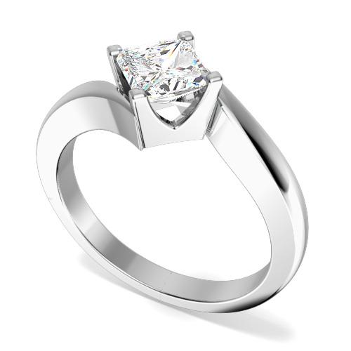 Inel de Logodna Solitaire Dama Platina cu un Diamant Princess In Setare Gheare, Inel Twist-img1