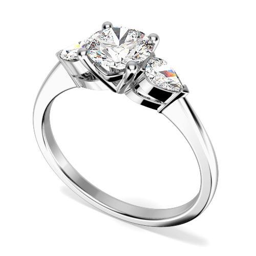 Inel de logodna/Inel cu 3 Diamante Dama Aur Alb 18kt cu un Diamant Rotund Briliant si 2 Diamante Laterale Forma Para-img1