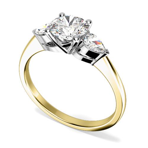 Inel de logodna/Inel cu 3 Diamante Dama Aur Galben si Aur Alb 18kt cu un Diamant Rotund Briliant si 2 Diamante Laterale Forma Para-img1