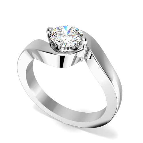 Inel de Logodna Solitaire Dama Aur Alb 18kt cu un Diamant Rotund Briliant cu Setare Gheare Gheare pe Banda Rasucita-img1