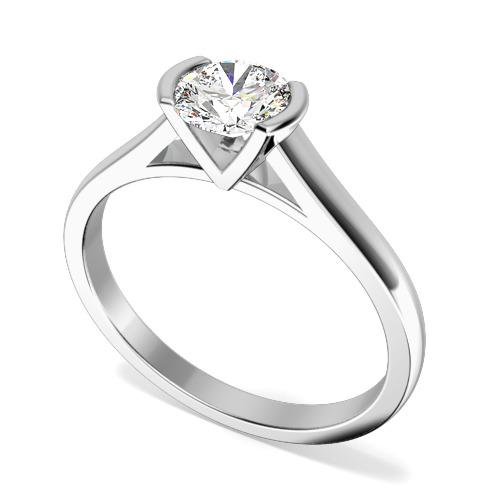 Inel de Logodna Solitaire Dama Aur Alb 18kt cu Diamant Rotund Briliant in Setare Bara-img1
