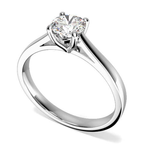 Inel de Logodna Solitaire Dama Aur Alb 18kt cu un Diamant Taietura Rotund Briliant-img1