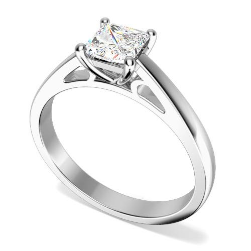 Inel de Logodna Solitaire Dama Aur Alb 18kt cu un Diamant Princess in Setare 4 Gheare, cu Banda de 2.3mm-img1