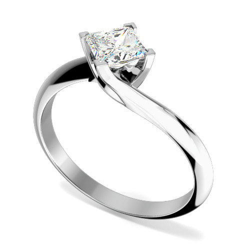 Inel de Logodna Solitaire Dama Aur Alb 18kt cu un Diamant Princess In Setare cu 4 Gheare, Inel Twist-img1