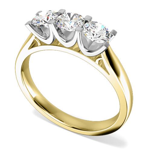 Inel de Logodna cu 3 Diamante Dama Aur Galben si Aur Galben si Aur Alb 18kt cu Diamante Rotund Briliant in Setare Gheare-img1