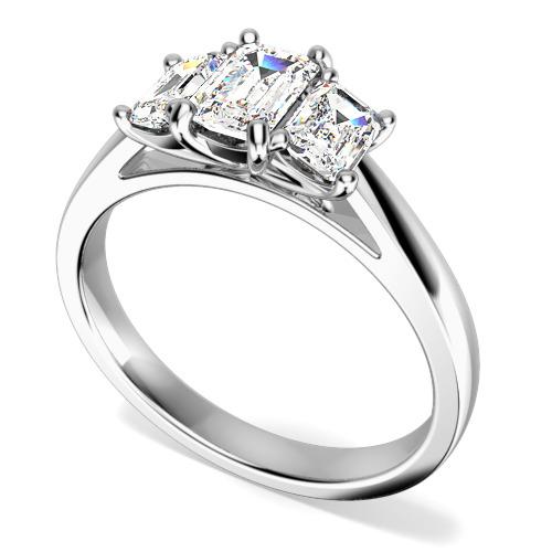 Inel de Logodna cu 3 Diamante Dama Aur Alb 18kt cu Diamante Taietura Smarald-img1