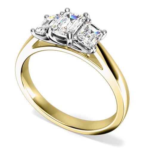 Inel de Logodna cu 3 Diamante Dama Aur Galben si Aur Alb 18kt cu Diamante Taietura Smarald-img1