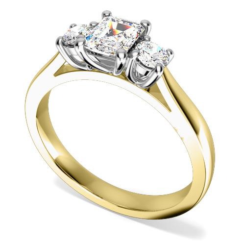Inel de Logodna cu 3 Diamante Dama Aur Galben si Aur Alb 18kt cu un Diamant Central Forma Smarald si 2 Diamante Rotund Briliant-img1