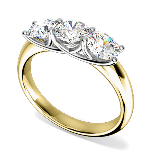 Inel de logodna/Inel cu 3 Diamante Dama Aur Galben si Aur Alb 18kt cu 3 Diamante Rotund Briliant Setate cu Gheare-img1