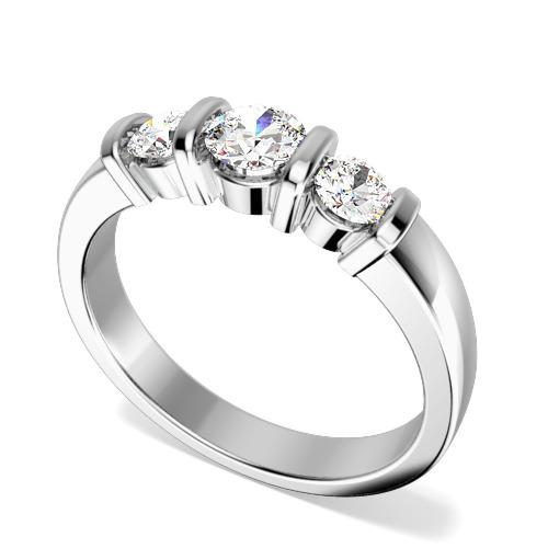 Inel de Logodna cu 3 Diamante Dama Aur Alb 18kt cu 3 Diamante Rotund Briliant in Setare Bara - In Stoc-img1