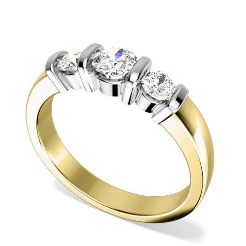 Inel de Logodna cu 3 Diamante Dama Aur Galben si Aur Alb 18kt cu 3 Diamante Rotund Briliant in Setare Bara-img1