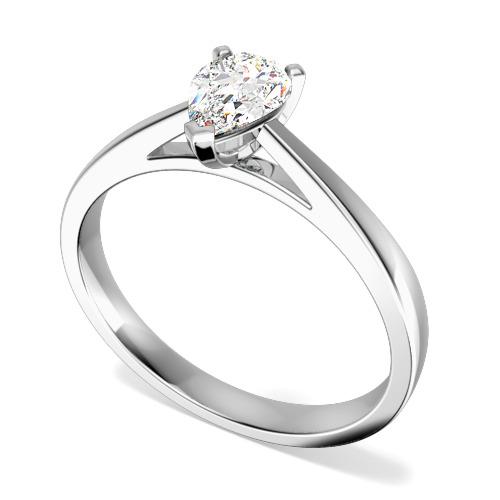 Inel de Logodna Solitaire Dama Aur Alb 18kt cu un Diamant Forma Para-img1